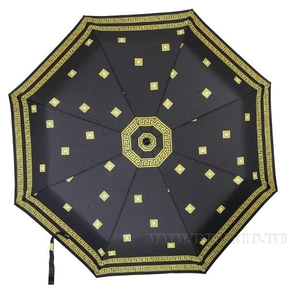 Зонт 23 цв., полный автомат, Дживанши черный с золотом оптом