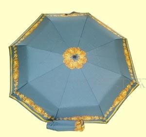 Зонт 23 цв., полный автомат, Бирюзовый с кантом львы оптом