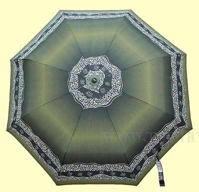 Зонт 23 цв., полный автомат, т-зеленая с каймой оптом
