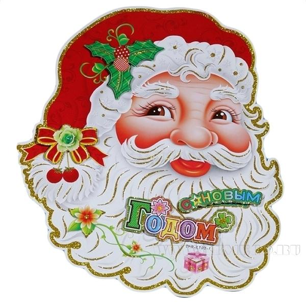 Новогоднее панно Санта, L43 W33 см оптом