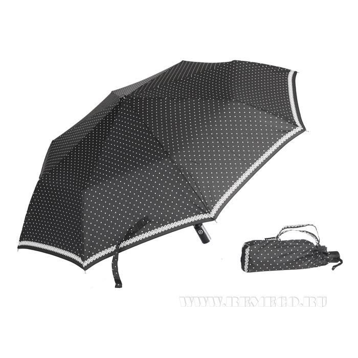 Зонт 23, полный автомат (Белые горохи на черном) оптом