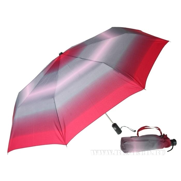 Зонт 23, женский полный автомат (Бордово-серый) оптом
