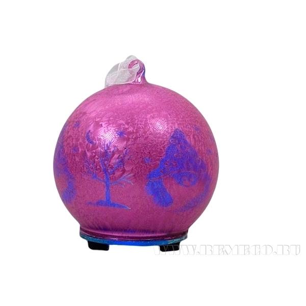 Новогоднее украшение со светодиодом Шар, D12см, 2 в. оптом
