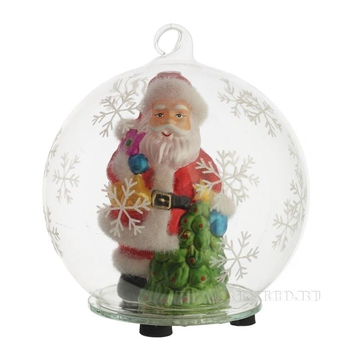 Новогоднее украшение Дед Морозв стеклянном шаре с подсветкой, D 12 H 14 см (тип батарейки 357А-3 ш оптом