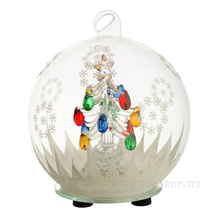 Новогоднее украшение Елка  в стеклянном шаре с подсветкой,  D12 H14 см (тип батарейки 357А-3 шт.) оптом