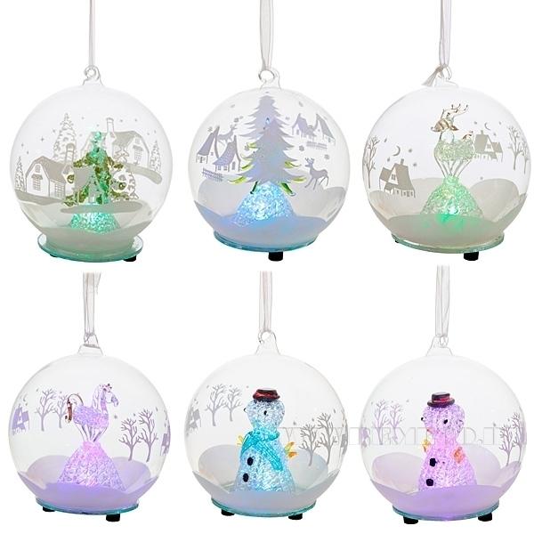 Новогоднее украшение  в стеклянном шаре с подсветкой,  D 12 см, 6 в. (тип батарейки 357А-3 шт.) оптом