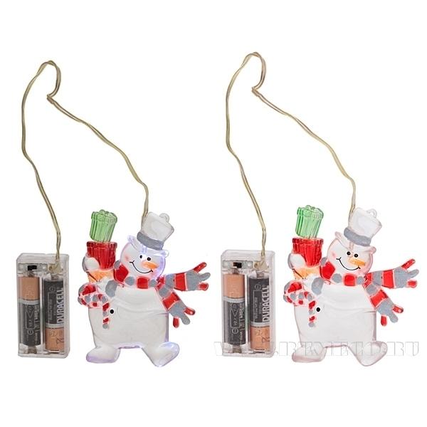 Уличное новогоднее украшение Снеговик со светодиодом, H 10 см (тип батарейки АА-2 шт.) оптом