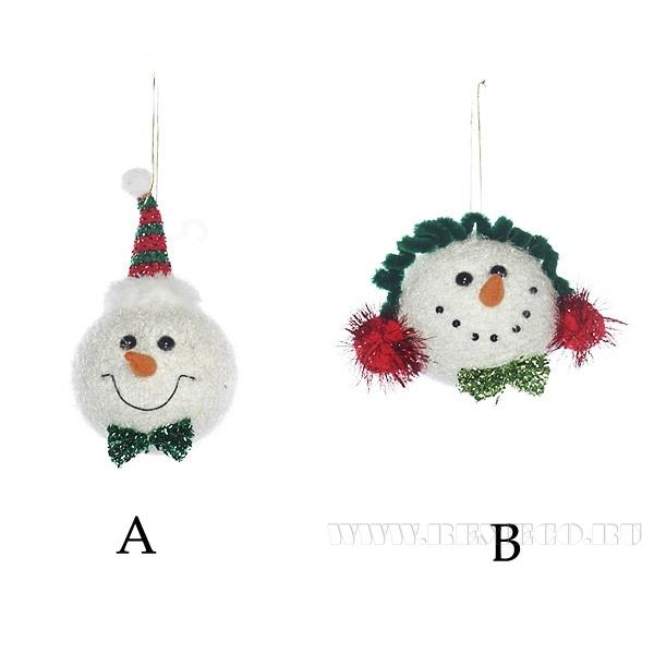 Новогоднее украшение Снеговик, 2 в., D 9см оптом