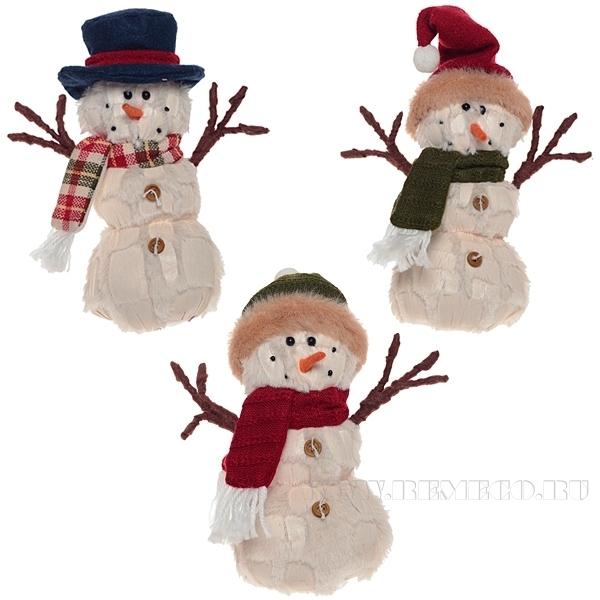 Игрушка мягконабивная Снеговик, H 8 см оптом