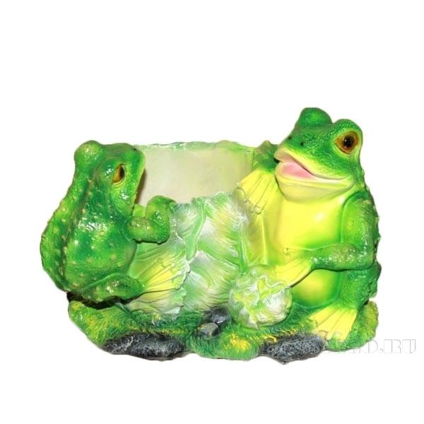 Кашпо декоративное Лягушки на капусте, L25 W21 H18 см оптом