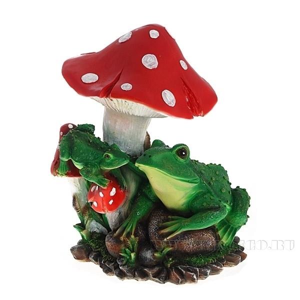 Изделие декоративное Две лягушки под грибом, Н37 см оптом