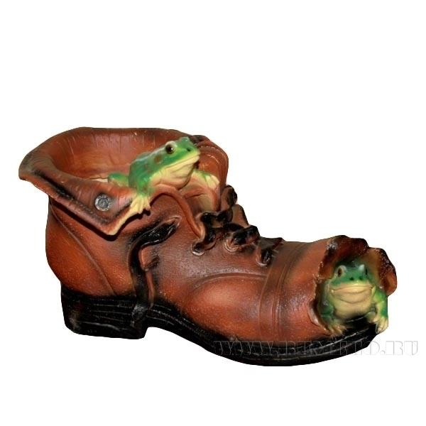 Кашпо декоративное Башмак с лягушками, L26 W15 H15 см оптом