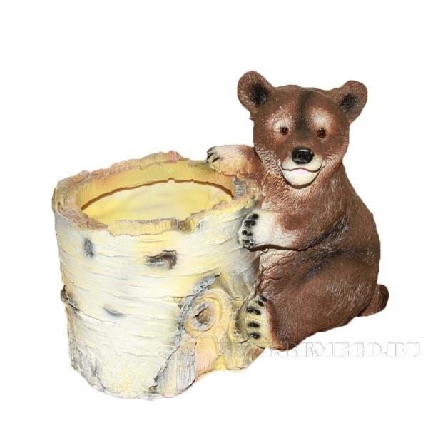 Кашпо декоративное Березовый пень с медведем, L12 W19 H16 см оптом