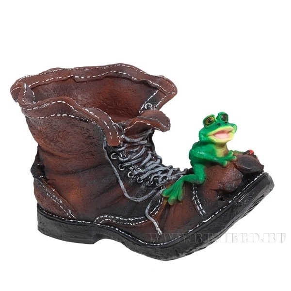 Кашпо декоративное Ботинок великана с лягушкой L47W27H27 оптом