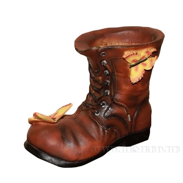 Кашпо декоративное Ботинок с бабочками, L22 W13 H18 см оптом
