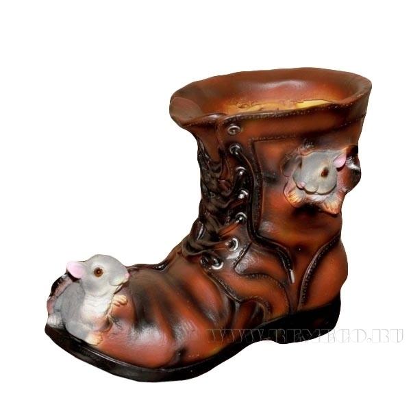 Кашпо декоративное Ботинок с мышками, L22 W13 H18 см оптом