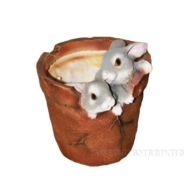 Кашпо декоративное Два зайца в горшке, L19 W17 H19 см оптом