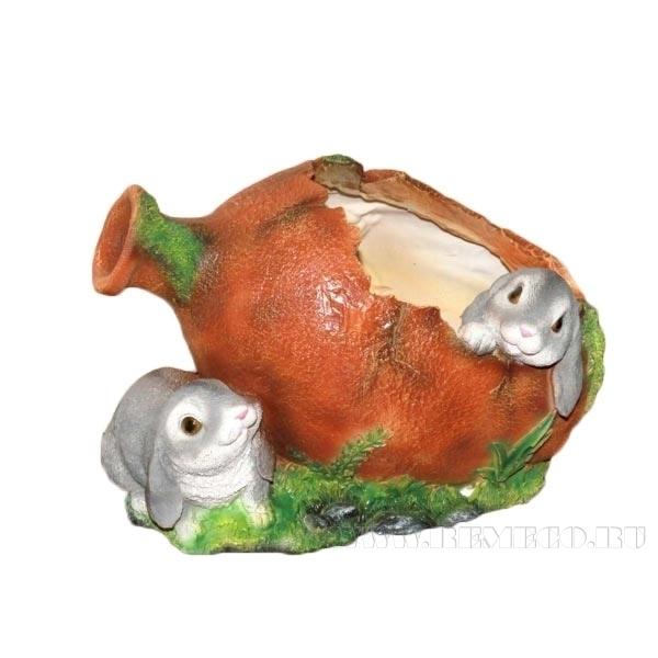 Кашпо декоративное Два зайца у кувшина, L26 W18 H18 см оптом