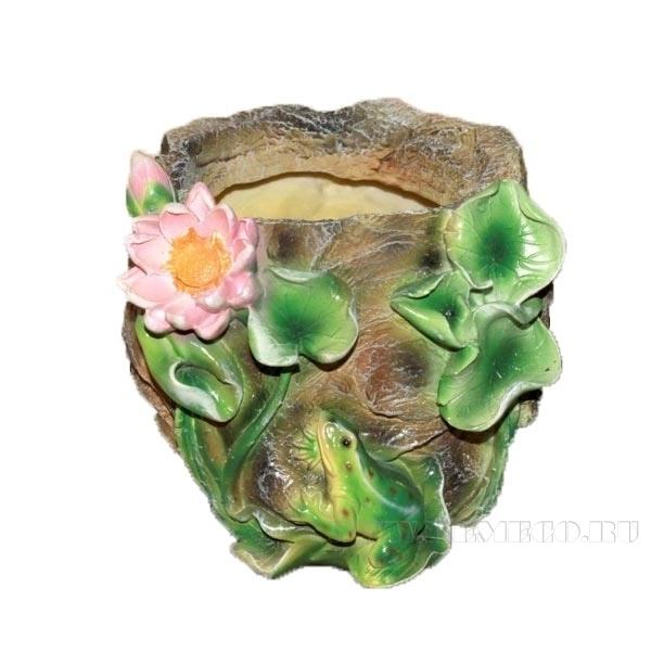 Кашпо декоративное Камень с лягушкой и лотосом, L21 W21 H18 см оптом