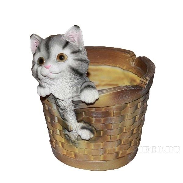 Кашпо декоративное Котенок в круглой корзине, L19 W16 H21 см оптом