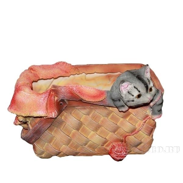 Кашпо декоративное Котенок в лукошке, L26 W24 H13 см оптом