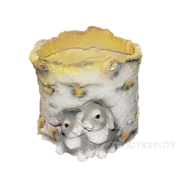 Кашпо декоративное Пенек березовый с зайчатами, L21 W18 H15 см оптом