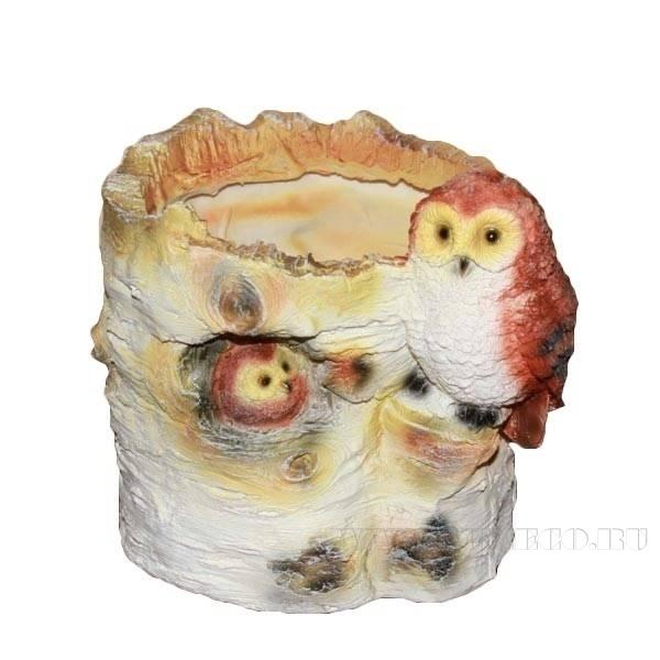Кашпо декоративное Пенек березовый с совой, L16 W13 H15 см оптом