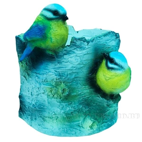 Кашпо декоративное Пень березовый с птичками, L13W13H14 см оптом