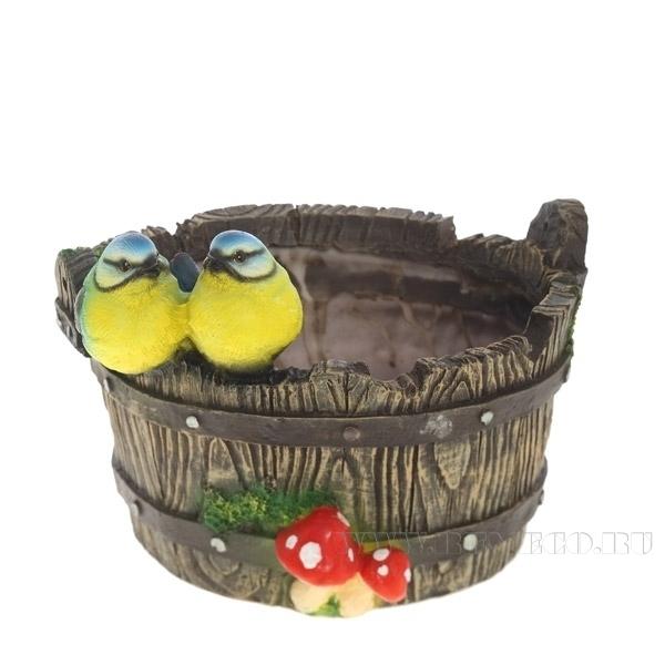 Кашпо декоративное Птички на корыте, L22W22H15,5 см оптом