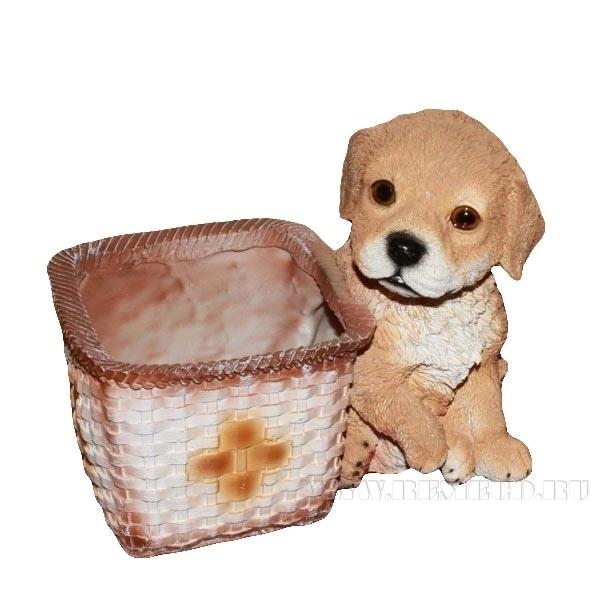 Кашпо декоративное Щенок у квадратной корзины, L21 W15 H18 см оптом