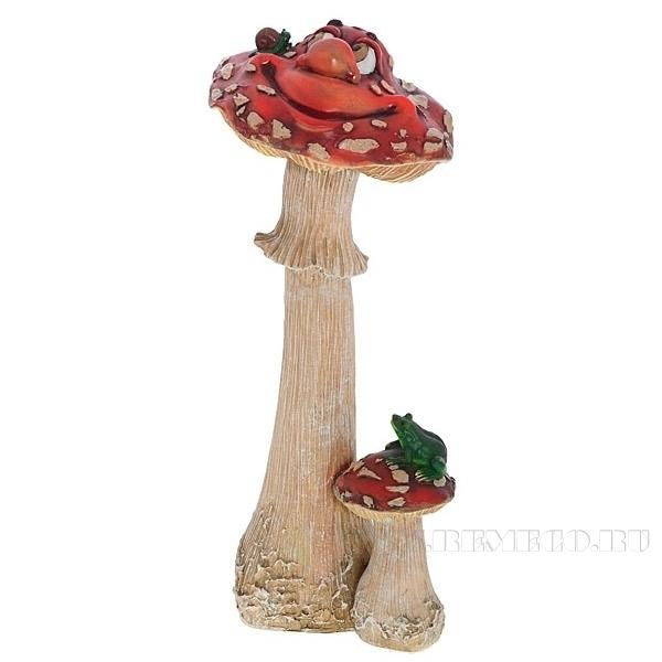Фигура декоративная садовая Гриб мухомор большой с лягушкой мульт.  L18W19H42 см оптом