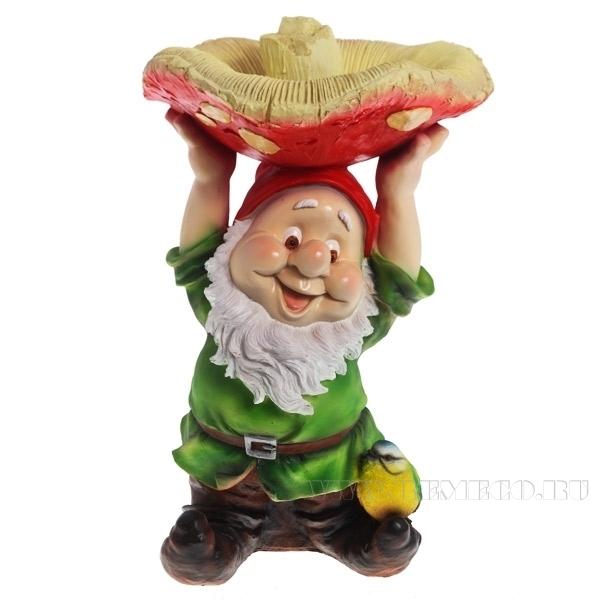 Фигура декоративная садовая Гном с грибом на голове L31W31H48 см оптом