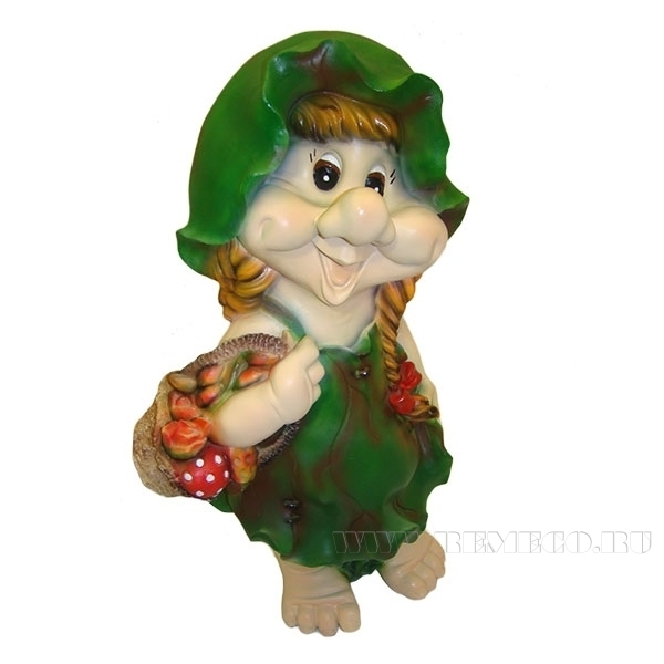Фигура декоративная садовая Гном-девочка в листочке L27W20H49 см оптом