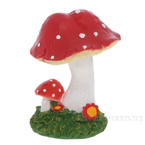 Фигура декоративная садовая Гриб Мухомор маленький, Н 16 см оптом