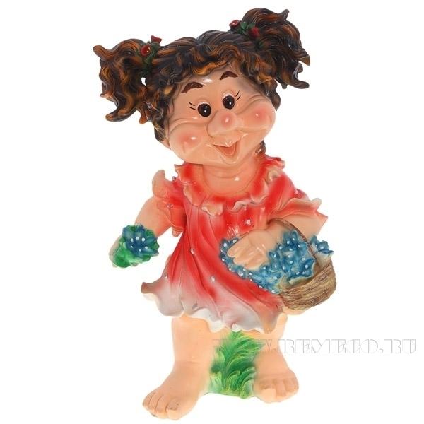 Фигура декоративная садовая Девочка с хвостиками L33W28H59 см оптом