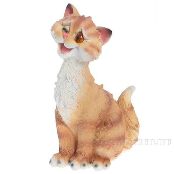Фигура декоративная садовая Забавный рыжий кот L13W13H26 см оптом