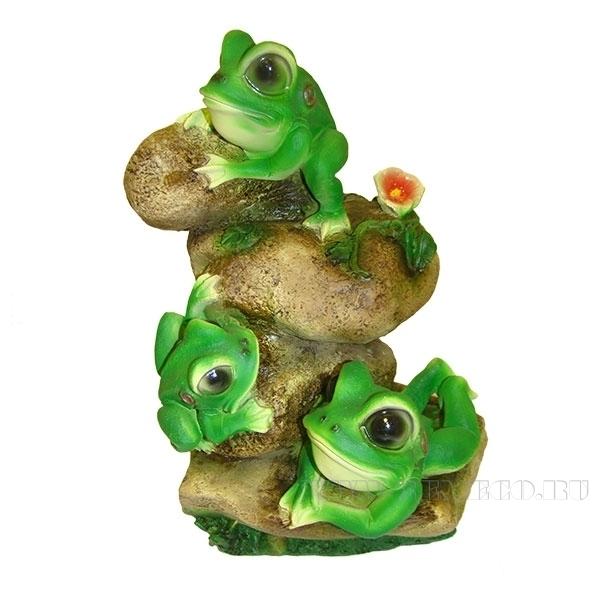 Фигура декоративная садовая Лягушата на камнях L26W19H36 см оптом
