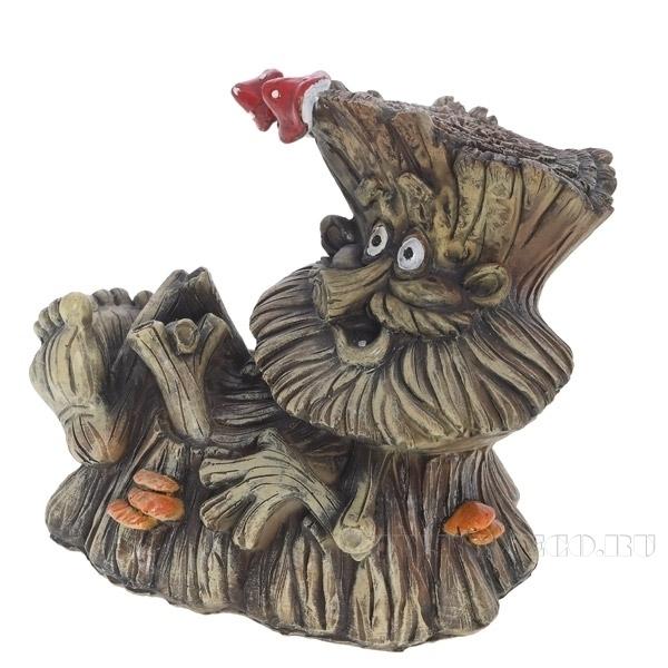 Фигура декоративная садовая Пенек-лесовичек №1 L22W13H19 см оптом
