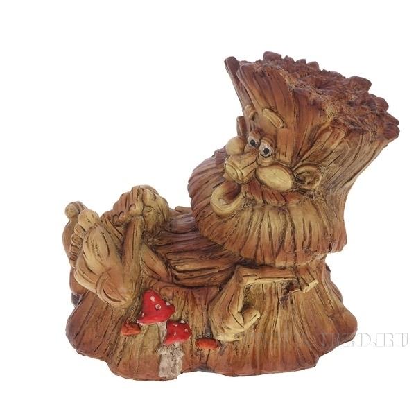 Фигура декоративная садовая Пенек-лесовичек №2 L21W13H19 см оптом