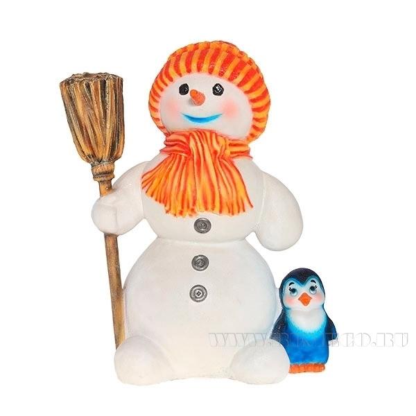 Фигура декоративная садовая Снеговик большой, L45W31H61 см оптом