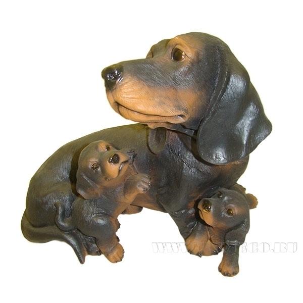Фигура декоративная садовая Такса с щенками L31W21H26 см оптом