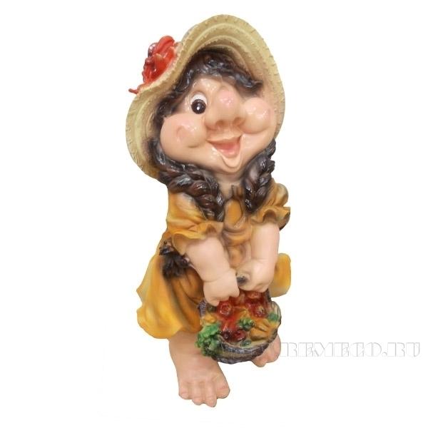 Фигура декоративная садовая Девочка-гном с корзинкой L23W25H49 см оптом
