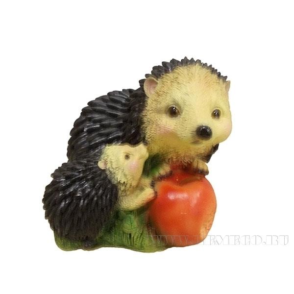 Фигура декоративная садовая Ежик с яблоками, L14.5W18H14 см оптом