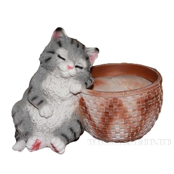 Кашпо декоративное Котенок спящий у корзины  Н - 18 см) оптом