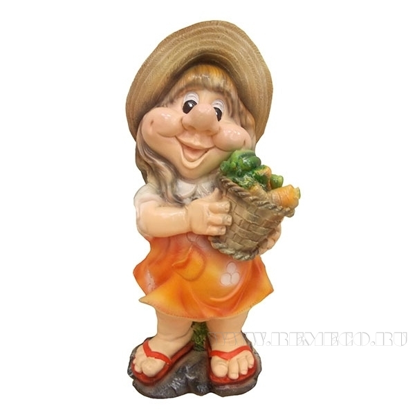 Фигура декоративная садовая Девочка с морковкой  L18W15H40 см оптом