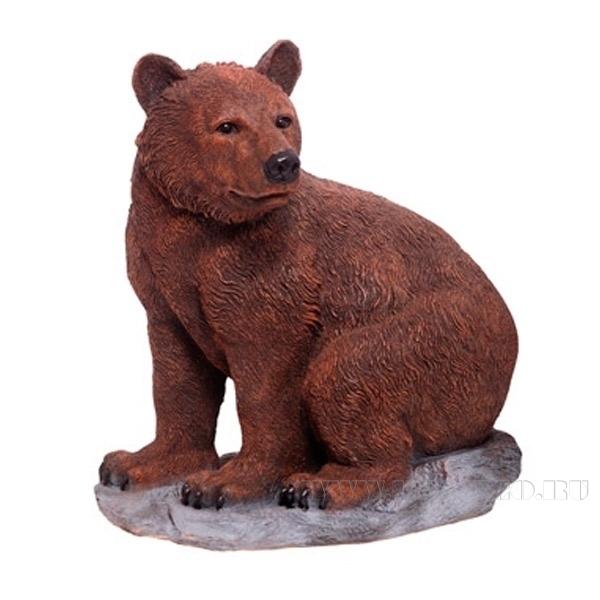 Фигура декоративная садовая Медведь на камне L52W28H57 см оптом