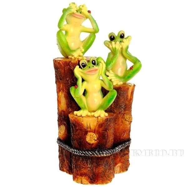 Фигура декоративная садовая Три лягушки на пеньках L23 W15 H45 см оптом