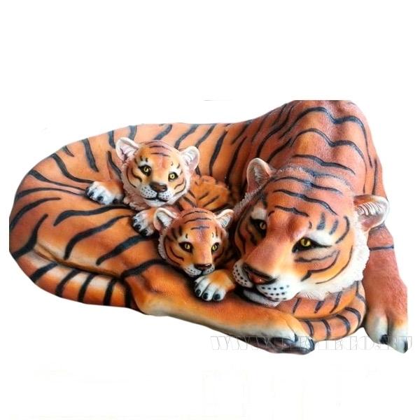 Камень декоративный Тигрица с тигрятами, L109 W83 H41 см (блок 2шт.) оптом