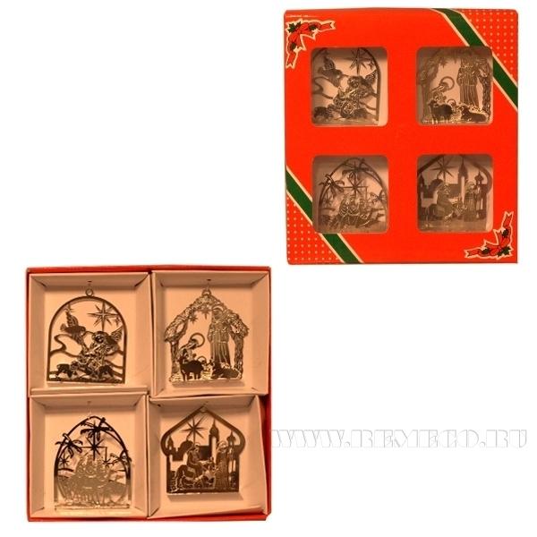 Набор из 4-х новогодних украшений №5 (сереб.), L16.5 W2.5 H18 см оптом