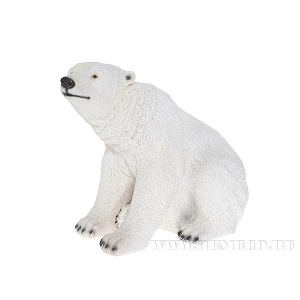 Фигура декоративная садовая Медведь белый сидячий, L16 W26 H20 см оптом